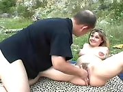 Pregnant cutie has fun in nature
