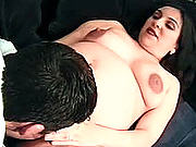 Pregnant brunette bitch wetting wildly as she gets pussy-licked and tongue-fucked.