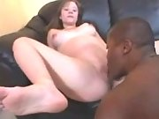 Teen pregnant girl rides black cock
