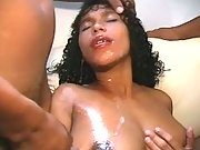 Preggy ebony gets numerous cumload